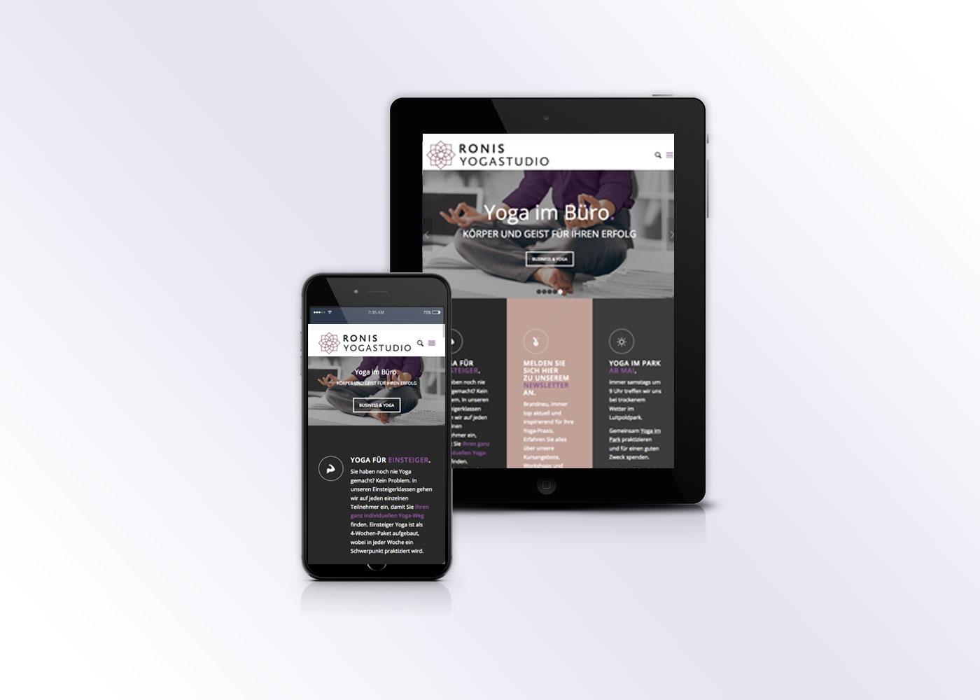 Webdesign Yogaseite für Ronis Yogastudio