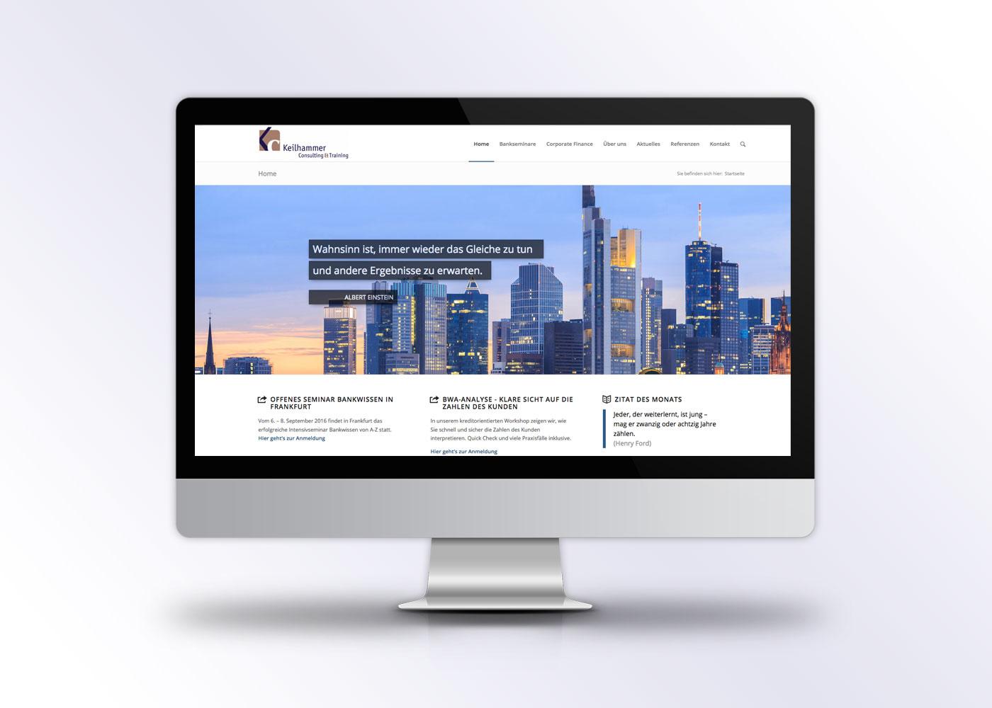 Webdesign in Wordpress für Banktraining Seite von Keilhammer Consulting