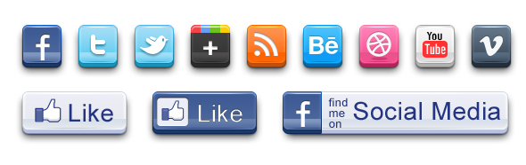 Soziale Netzwerke - symbolisiert durch Social Media Buttons